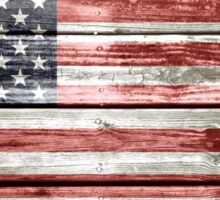 American Flag on Distressed Wood Sticker