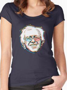 Bernie Sanders Portrait 3D Glasses 2016   Women's Fitted Scoop T-Shirt