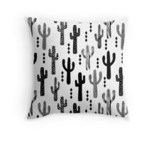 cactus desert southwest tribal succulent terrarium triangle geometric black and white  Throw Pillow