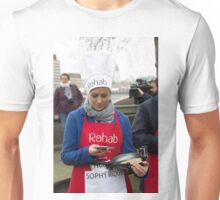 Sophy Ridge uses her mobile at the Rehab Parliamentary Pancake Race 2016 Unisex T-Shirt