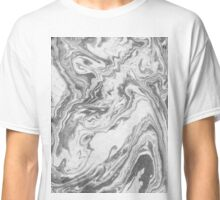 Akio - modern minimal black and white monochromatic swirl marbled marble abstract painting art minimalism  Classic T-Shirt