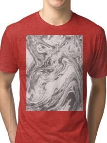 Akio - modern minimal black and white monochromatic swirl marbled marble abstract painting art minimalism  Tri-blend T-Shirt