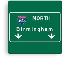 Birmingham, Road Sign, Alabama Canvas Print