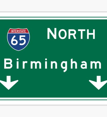 Birmingham, Road Sign, Alabama Sticker