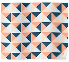 Coral Blue Peach Triangles Geometric Pattern Poster