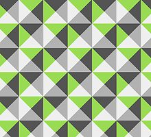 Lime Grey White Triangle Geometric pattern by dreamingmind