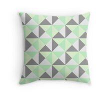 Mint Green Grey Geometric Triangles Throw Pillow