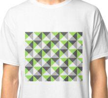 Lime Grey White Triangle Geometric pattern Classic T-Shirt