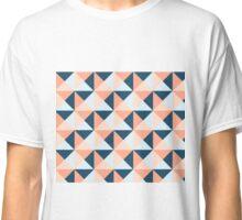Coral Blue Peach Triangles Geometric Pattern Classic T-Shirt