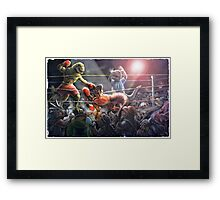 Battle of the Ages Dinosaur Fight Card Framed Print