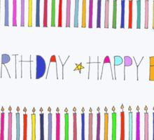Happy Birthday Candles Colorful With Colorful Border Sticker