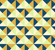 Navy Blue Lime Burnt Orange Cream Triangle Geometric Pattern by dreamingmind