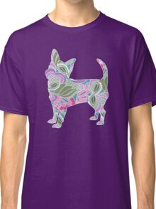 Chihuahua in Colorful Floral Garden Pattern Classic T-Shirt