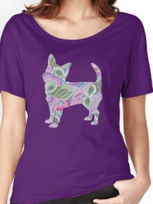 Chihuahua in Colorful Floral Garden Pattern Women's Relaxed Fit T-Shirt