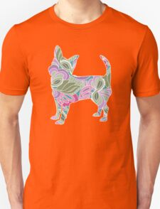 Chihuahua in Colorful Floral Garden Pattern Unisex T-Shirt