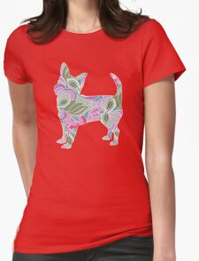 Chihuahua in Colorful Floral Garden Pattern T-Shirt