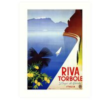 Travel Italy 1920s Lake Garda Riva Torbole Gardesana advert Art Print