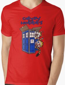 Calvin And Hobbes Tardis Mens V-Neck T-Shirt