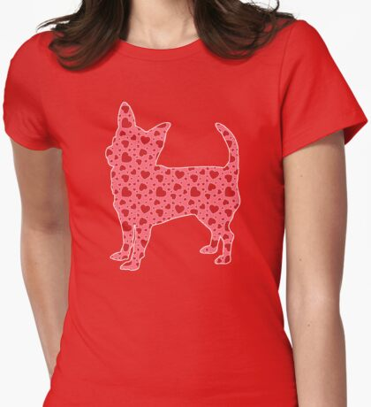 Valentine Hearts Chihuahua Womens Fitted T-Shirt