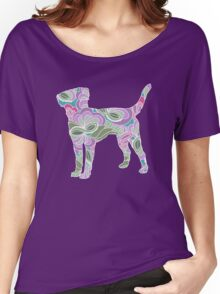 Labrador Retriever in Colorful Floral Garden Pattern Women's Relaxed Fit T-Shirt