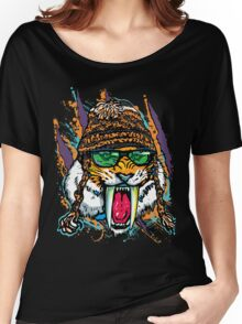 Sabre Tooth Tiger Chillin' With Winter Beanie Women's Relaxed Fit T-Shirt