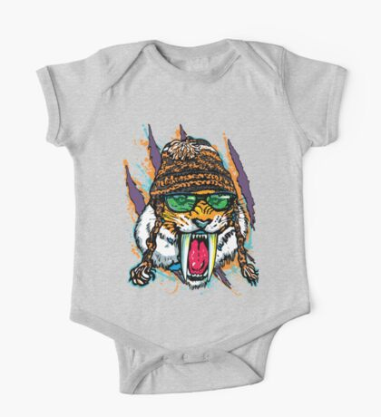 Sabre Tooth Tiger Chillin' With Winter Beanie One Piece - Short Sleeve