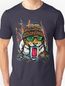 Sabre Tooth Tiger Chillin' With Winter Beanie T-Shirt