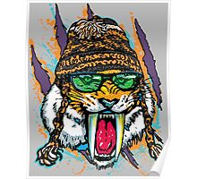 Sabre Tooth Tiger Chillin' With Winter Beanie Poster