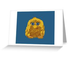 Cute Yellow Yeti Bigfoot With Big Blue Eyes Greeting Card