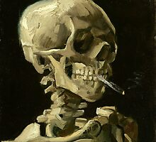 Head of skeleton with a burning cigarette by JBJart