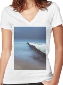 Evening by the sea Women's Fitted V-Neck T-Shirt
