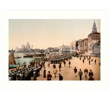 1890s Venice Italy Riva Degli Schiavoni, sailors, photo Art Print