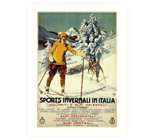 Early 1920s winter sports Italy travel advert Alps Art Print