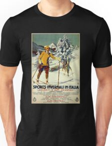 Early 1920s winter sports Italy travel advert Alps Unisex T-Shirt