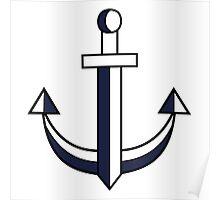 Sword anchor blue/white Poster