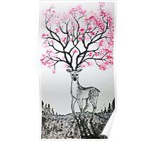 Cherry Blossom Deer Poster