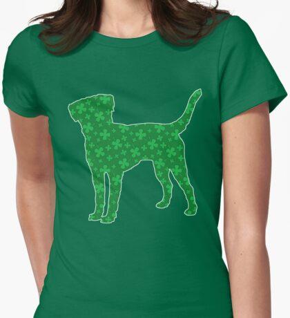 Labrador Retriever St. Patrick's Shamrock Pattern Womens Fitted T-Shirt