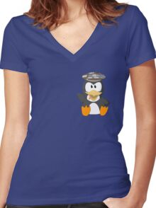 musseduch penguin Women's Fitted V-Neck T-Shirt