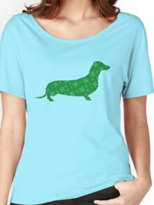 Dachshund, Wiener Dog, St. Patrick's Shamrock Women's Relaxed Fit T-Shirt