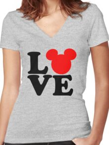 Love text silhouette Women's Fitted V-Neck T-Shirt