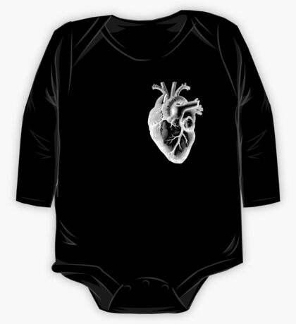 Anatomical Heart - White Outline One Piece - Long Sleeve