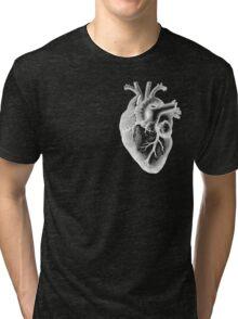 Anatomical Heart - White Outline Tri-blend T-Shirt