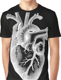 Anatomical Heart - White Outline Graphic T-Shirt