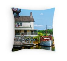 Docked Boats Throw Pillow