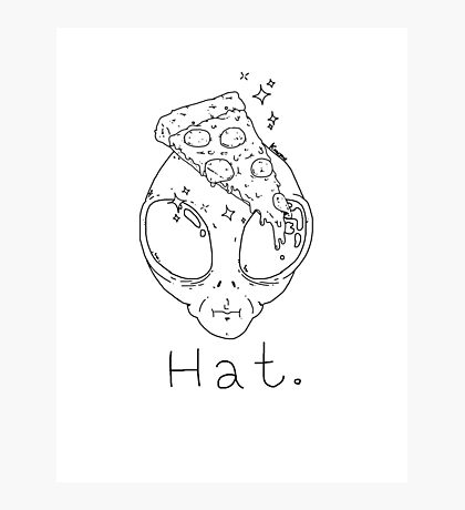 Alien Pizza Hat (white Only) Photographic Print