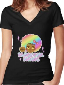 Black Girl Magic Women's Fitted V-Neck T-Shirt