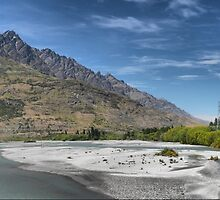 The Shotover River ( 1 ) Looking towards Double Cone by Larry Lingard-Davis