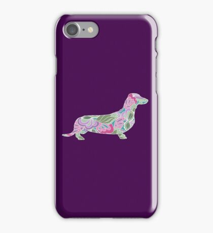 Dachshund with Colorful Floral Garden Pattern  iPhone Case/Skin