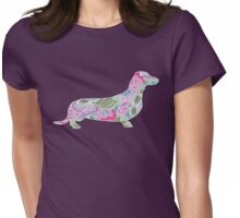 Dachshund with Colorful Floral Garden Pattern  Womens Fitted T-Shirt