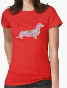 Dachshund with Colorful Floral Garden Pattern  T-Shirt